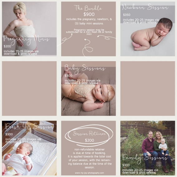 Session & Product Pricing | JOY Photography MidMichigan